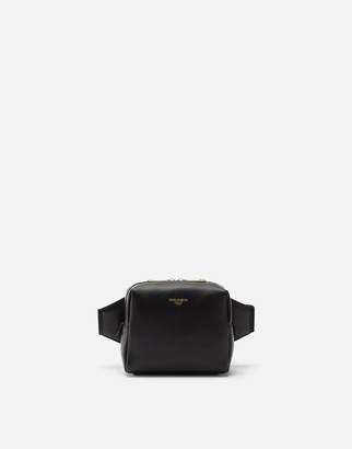 Dolce & Gabbana Small Monreale Belt Bag In Calfskin With Heat-Stamped Logo