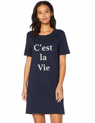 Iris & Lilly Amazon Brand Women's Short Sleeve Jersey Nightdress Blue (Night Sky) L Label:L