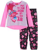 "DreamWorks Trolls Poppy Girls 4-10 ""Put Your Hair in the Air"" Top & Bottoms Pajama Set"