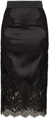Dolce & Gabbana High Waisted Lace Detail Skirt
