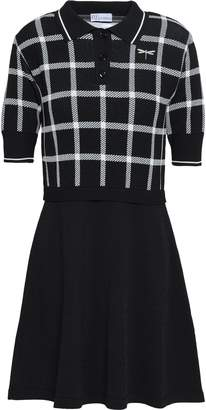 RED Valentino Paneled Jacquard And Stretch-knit Mini Dress