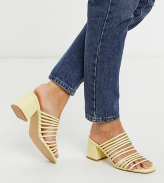 Raid Wide Fit Sidney strappy heeled sandals in pale yellow