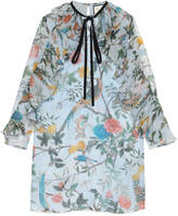 Gucci Tian print silk plissé dress
