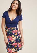 ModCloth Botanical Breakfast Floral Dress in Navy Blossoms in XL - Short Sleeve Twofer Knee Length