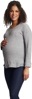 Everly Grey Andria Maternity Nursing Sweater (Heather Grey) Women's Clothing