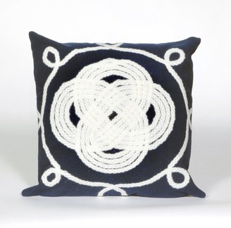 "Liora Manné Visions II Ornamental Knot Indoor/Outdoor Pillow Navy 20"" Square"