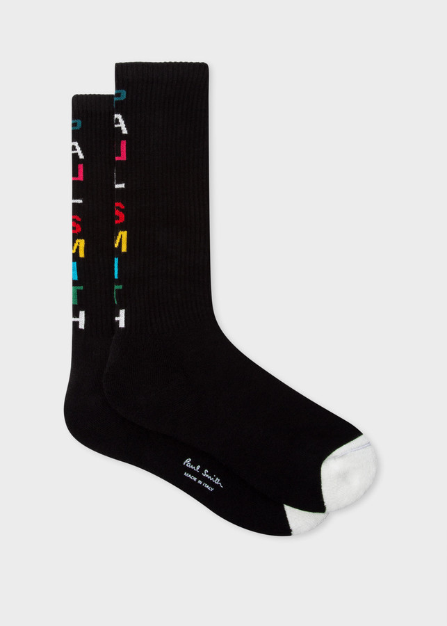 Thumbnail for your product : Paul Smith Men's Black Organic-Cotton Socks With 'Paul Smith' Detail