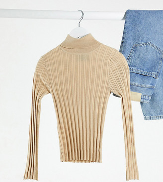 ASOS DESIGN Petite ribbed roll neck jumper