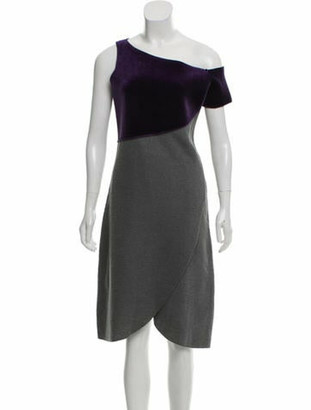 Emporio Armani Velvet-Accented Asymmetrical Wool Dress Purple