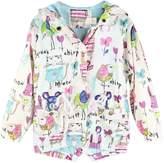 Jastore Baby Girl Cartoon Print Graffiti Coat Wind Hooded Jacket Full Sleeve Outerwear