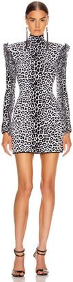 Dundas Long Sleeve Leopard Mini Dress in Black & Beige | FWRD