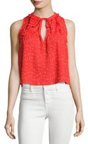 IRO Ragnhild Sleeveless Textured Boxy Top, Red-Orange