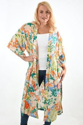 Rose Hill Boutique - Long Orange and Cream Tropical Kimono