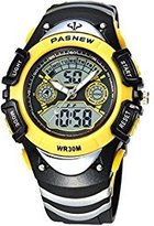 New Brand Mall Boys Girls Sports Watch Electronic Quartz LED Digital Waterproof Watches (Yellow)