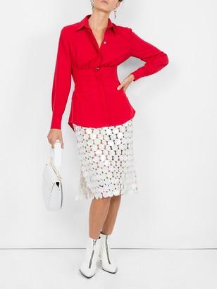 Sara Battaglia Cinched Waist Shirt Red