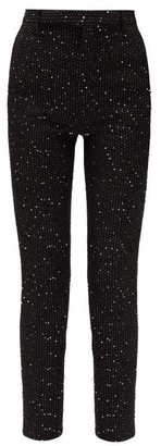 Saint Laurent High-rise Sequinned Boucle Slim-leg Trousers - Black Silver