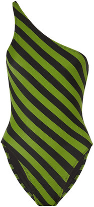Norma Kamali Mio One-shoulder Striped Swimsuit