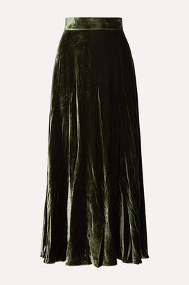 ARoss Girl x Soler Alex Velvet Maxi Skirt - Forest green
