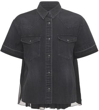 Sacai Cotton Denim Shirt W/back Pleated Detail