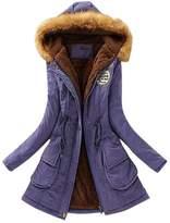 Femirah Women's Winter Warm Faux Fur Hooded Cotton-Padded Coat Long Parka Jacket