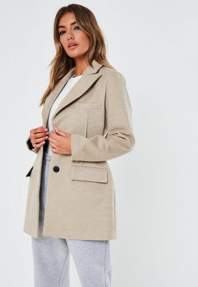 Missguided Petite Stone Dart Detail Formal Coat