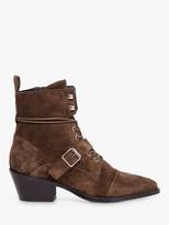 AllSaints Katy Suede Strap Boots, Tan