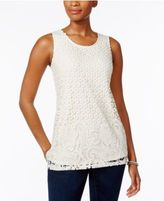 Charter Club Mixed Lace-Front Tank Top, Only at Macy's