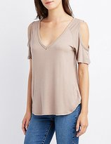 Charlotte Russe Cold Shoulder V Neck Tee