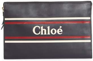 Chloé Logo & Stripes Leather Zip Pouch
