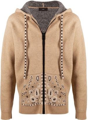 Alanui Bandana knitted zipped hoodie