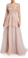 Rickie Freeman For Teri Jon Premier Embroidered Tulle Peplum Gown