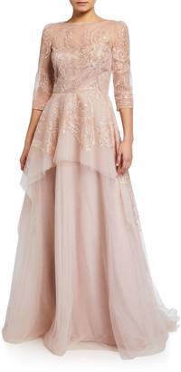 Rickie Freeman For Teri Jon Premier Embroidered Tulle Peplum Gown