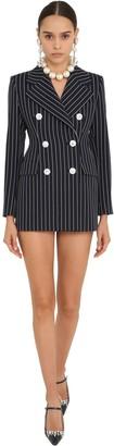 Alessandra Rich Pin Stripe Cool Wool Blazer Dress