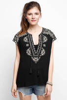 Daniel Rainn Notched Neck Embroidered Blouse