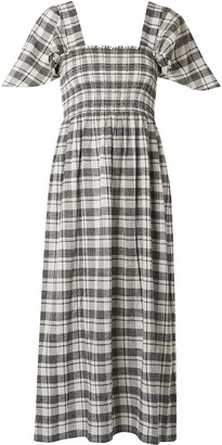 The Great The Gimlet Shirred Checked Cotton And Linen-blend Midi Dress