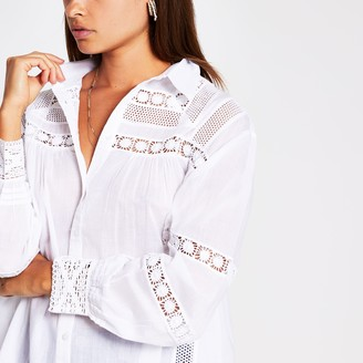 River Island Womens White long sleeve embroidered shirt