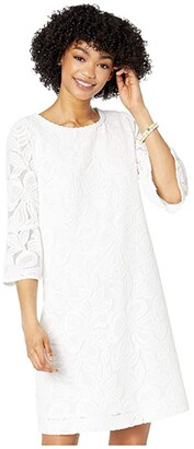 Lilly Pulitzer Ophelia Dress (Resort White Wildflower Stripe Lace) Women's Dress