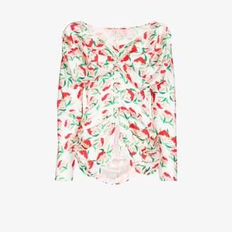 Yuhan Wang yuhan wang peach print blouse