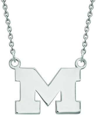 LogoArt Sterling Silver Michigan Wolverines Small Pendant with Necklace