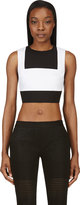 Richard Nicoll White and Black Waffle Cotton Bib-front Crop Top