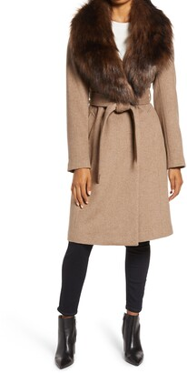 Ellen Tracy Wool Blend Wrap Coat with Removable Faux Fur Collar