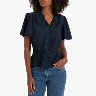 La Redoute Collections Wrapover Ruffled Blouse with Short Sleeves and Tie-Waist
