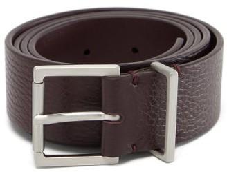 Maison Margiela Square-buckle Grained-leather Belt - Burgundy