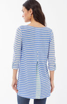 J. Jill Tab-Sleeve Button-Back Knit Tunic