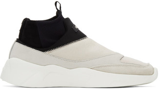 Essentials Black and Beige Laceless Sock Runner Sneakers