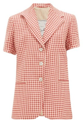 Giuliva Heritage Collection Houndstooth Linen Short-sleeved Jacket - Womens - Red White