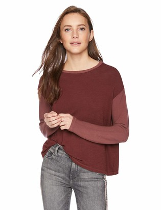 Monrow Women's Supersoft Contrast Rib Top