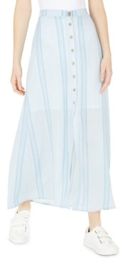 BeBop Juniors' Button-Front Striped Maxi Skirt