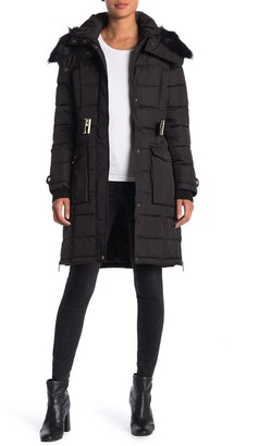 French Connection Faux Fur Trim Belted Hoodie Puffer Jacket