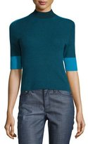Tory Burch Megan Elbow-Sleeve Colorblock Cashmere Top, Oceano